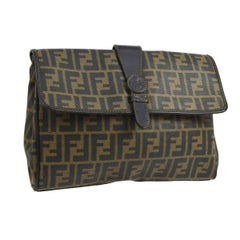 Fendi Zucca Monogram Large Men's Pouch Travel Envelope Evening Clutch Flap Bag