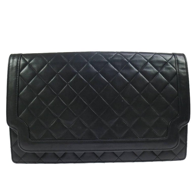 Chanel Black Lambskin Quilted Envelope Carryall EveningClutch Flap Bag