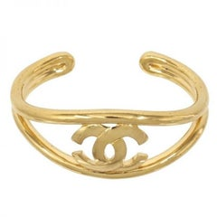Chanel Gold CC Logo Open Adjustable Evening Bangle Cuff Bracelet