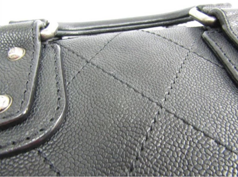 Chanel Black Leather Silver Top Handle Satchel Boston Doctor Hand Bag In Excellent Condition For Sale In Chicago, IL
