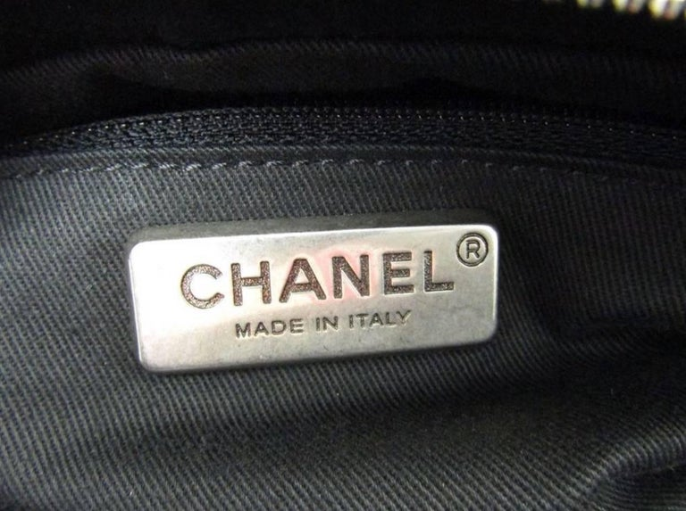 Chanel Black Leather Silver Top Handle Satchel Boston Doctor Hand Bag For Sale 3