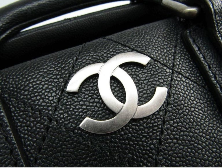 """Chanel Black Leather Silver Top Handle Satchel Boston Doctor Hand Bag  Leather Silver tone hardware Leather lining Zipper closure Made in Italy Handle drop 3"""" Measures 12.5"""" W x 7"""" H x 7.5"""" D  Includes original Chanel dust bag"""