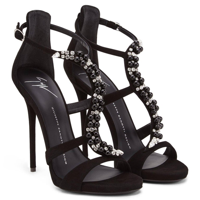 Giuseppe Zanotti New Black Bead Crystal Wrap Evening Sandals Heels in Box In New Condition For Sale In Chicago, IL