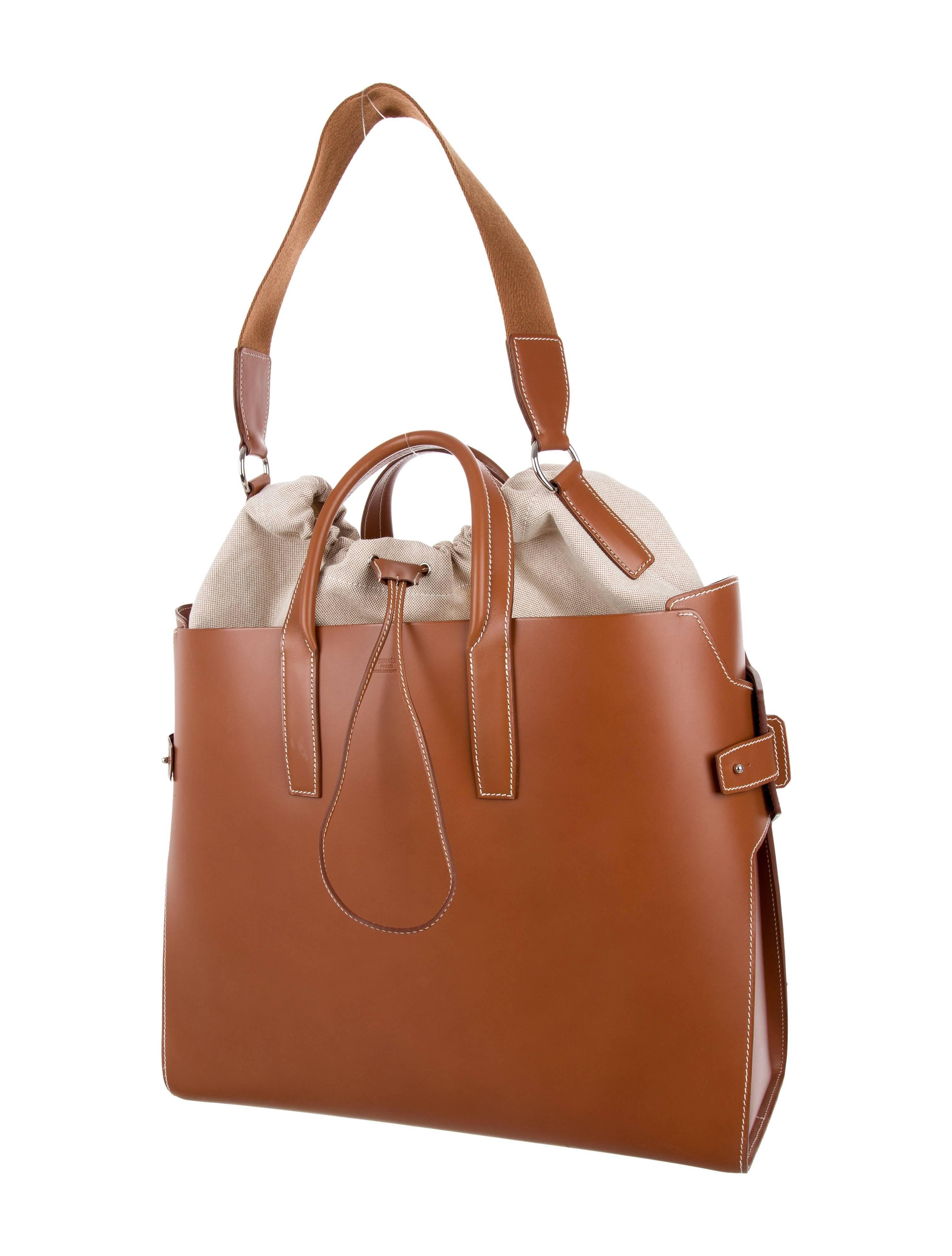 ca50e26262df Hermes Runway Leather Cognac Men s Carryall Duffle Travel Weekender Tote Bag  at 1stdibs