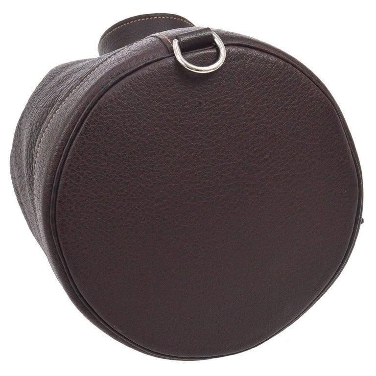 Black Hermes Dark Brown Leather Men's Drawstring Bucket Duffle Carryall Shoulder Bag For Sale