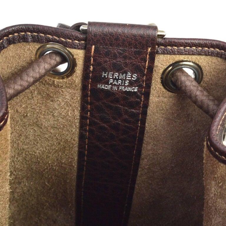 Women's Hermes Dark Brown Leather Men's Drawstring Bucket Duffle Carryall Shoulder Bag For Sale