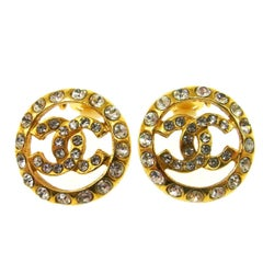 Chanel Gold Rhinestone Charm Evening Stud Earrings in Box