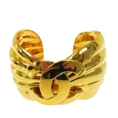 Chanel Gold Textured Charm Evening Statement Cuff Bracelet in Box