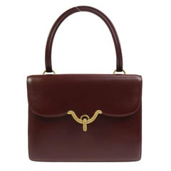 Hermes Bordeaux Leather Gold Emblem Kelly Style Top Handle Satchel Flap Bag