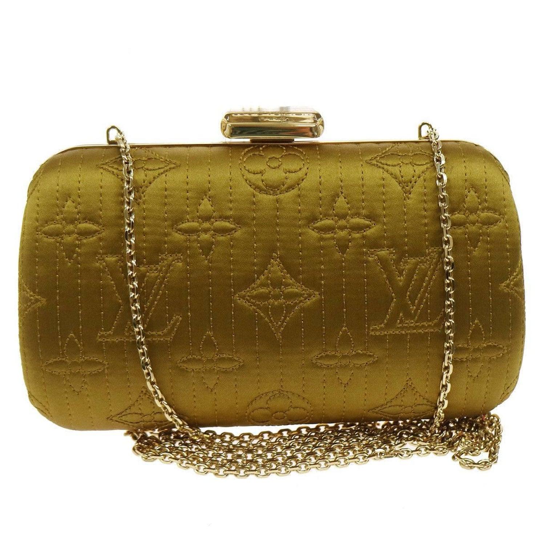 d8284e21e31b Louis Vuitton Monogram Satin 2 in 1 Evening Clutch Flap Chain Shoulder Bag  at 1stdibs
