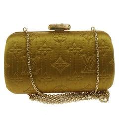 Louis Vuitton Monogram Satin 2 in 1 Evening Clutch Flap Chain Shoulder Bag
