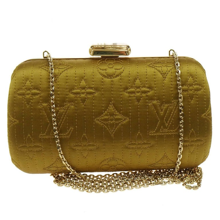 Louis Vuitton Monogram Satin 2 in 1 Evening Clutch Flap Chain Shoulder Bag