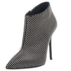 Giuseppe Zanotti New Black Silver Stud Evening Ankle Booties Boots in Box