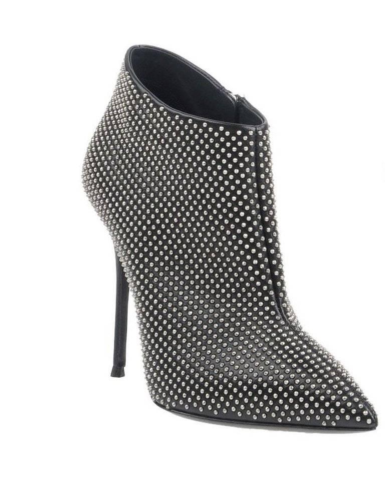 """Giuseppe Zanotti New Black Silver Stud Evening Ankle Booties Boots in Box available  Size IT 36  Leather  Silver hardware  Zipper closure  Made in Italy  Heel height 4.25""""  Includes original Giuseppe Zanotti box"""