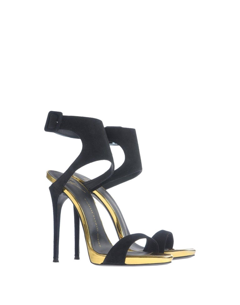 "Giuseppe Zanotti New Black Suede Gold Evening Sandals Heels in Box  Size IT 36  Suede Leather Ankle buckle closure Made in Italy Heel height 4.75"" Includes original Giuseppe Zanotti box"