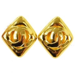 Chanel Gold Triangle Diamond Charm Evening Statement Stud Earrings