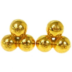 Chanel Gold Three Tier Round Statement Evening Stud Earrings
