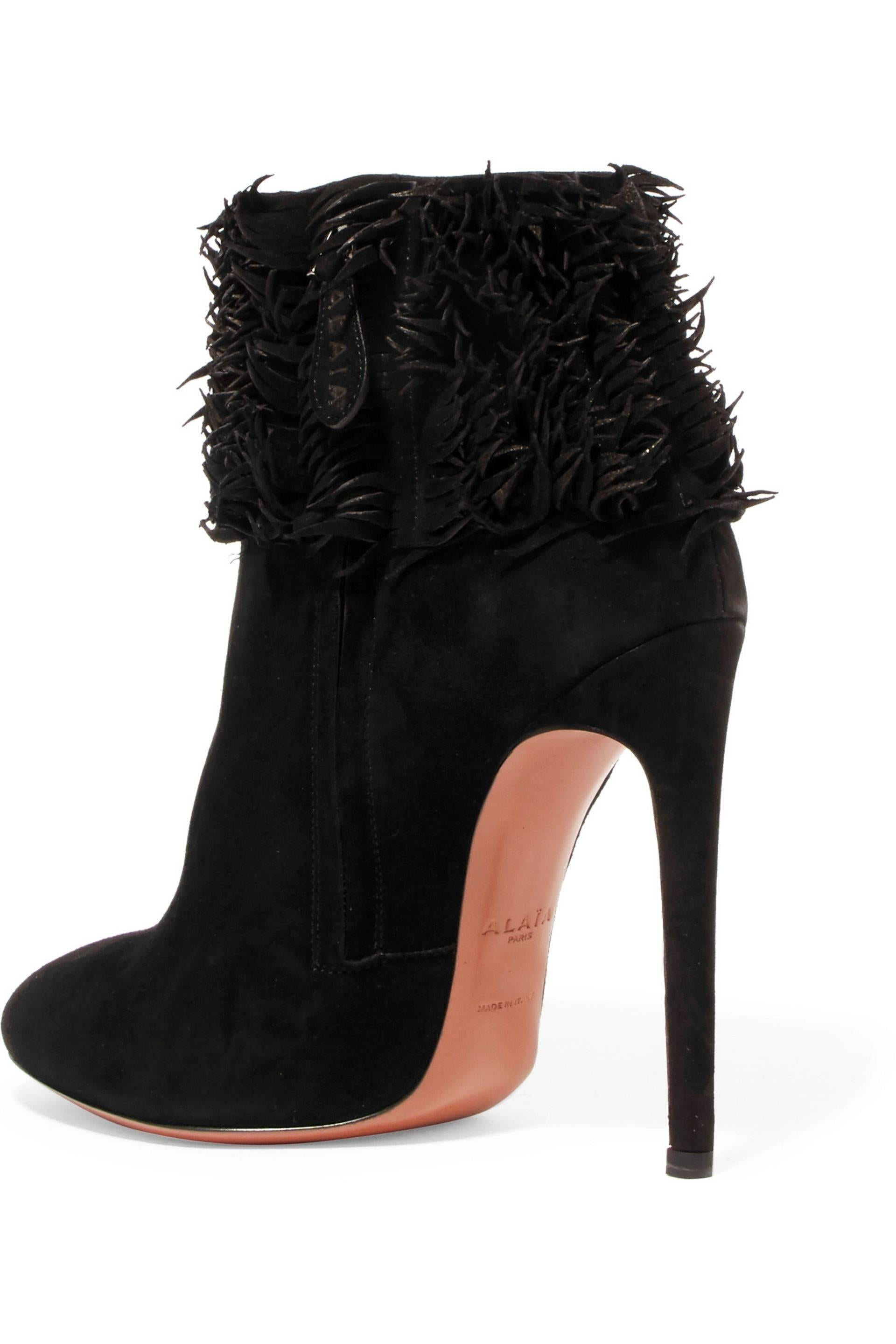visit new cheap online cheap big discount Alaïa Ruffle Suede Booties high quality buy online sale order cheap sale looking for 0SnW2V