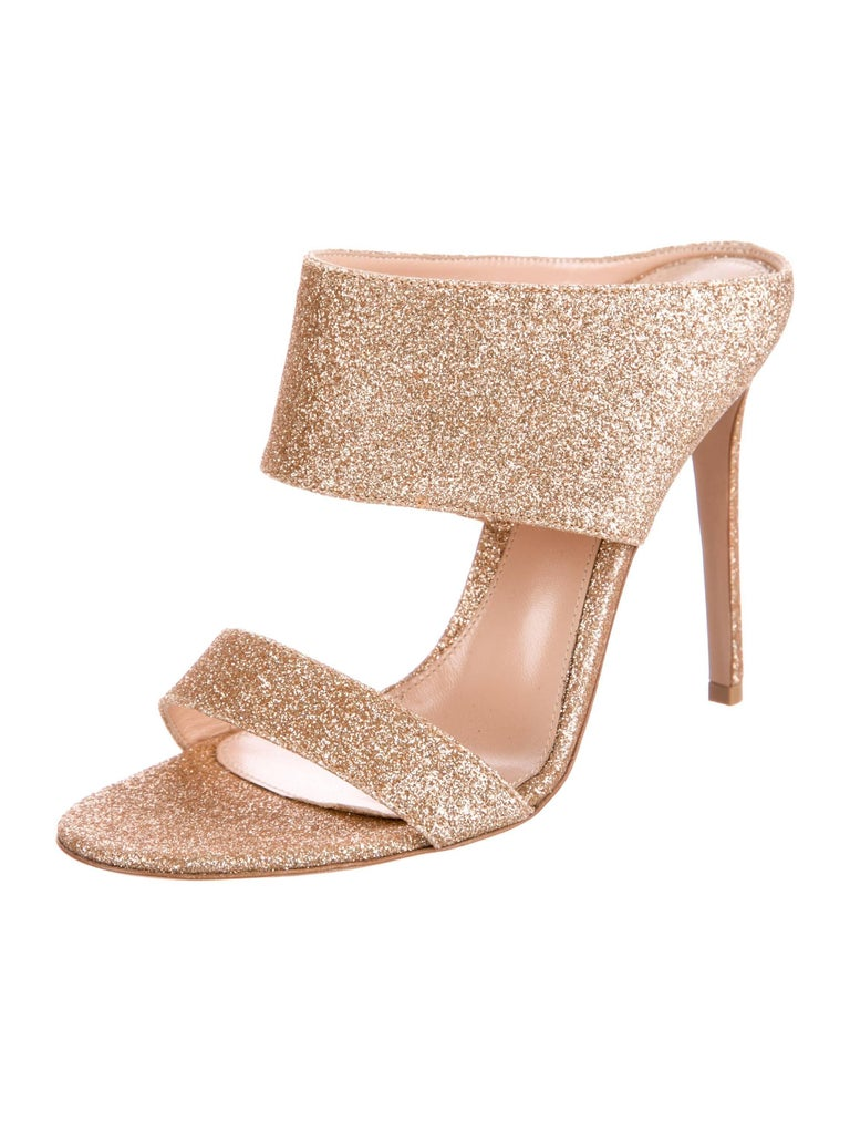 22ec256bc9 Gianvito Rossi New Gold Metallic Mules Evening Sandals Heels in Box Size IT  36 Leather Glitter