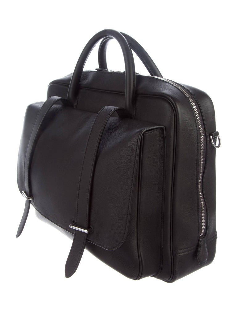 Hermes New Black Leather Men's Women's Top Handle Business Travel Shoulder Bag In New Condition For Sale In Chicago, IL