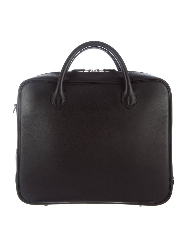 """Hermes New Black Leather Men's Women's Top Handle Business Travel  Tote Shoulder Bag  Original purchase price $8,995 Leather Palladium hardware Woven lining Zipper closure Made in France Date code Square R Handle drop 4"""" Removable shoulder"""