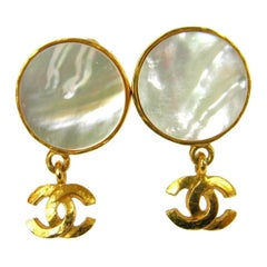 Chanel Gold Metallic Iridescent Shell Charm Dandle Drop Evening Earrings in Box