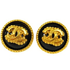 Chanel Textured Gold Black Accent Charm Statement Evening Stud Earrings