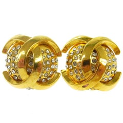Chanel Gold Charm Rhinestone Evening Statement Stud Earrings