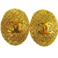 Chanel Gold Textured Dangle Drop Evening Stud Earrings