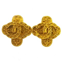 Chanel Textured Gold Charm Cross Evening Statement Stud Earrings