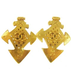 Chanel Textured Gold Cross Evening Stud Drape Drop Earrings