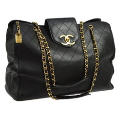 Chanel Black Leather Extra Large Supermodel Weekender Travel Flap Shoulder Bag