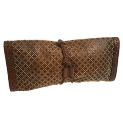 Gucci Chocolate Leather Bamboo Fringe Wraparound Evening Envelope Clutch Bag
