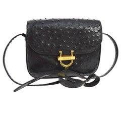 Celine Black Ostrich Leather Exotic Skin Saddle  2 in 1 Clutch Shoulder Flap Bag