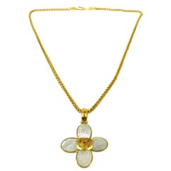 Chanel Gold Metal Metallic Shell Charm Medallion Chain Pendant Necklace