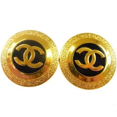 Chanel Gold Round Large Statement Evening Disc Stud Earrings in Box