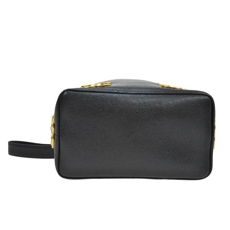Women's Chanel Black Leather Gold Charms Sling Back Carryall Duffle Shoulder Bag For Sale