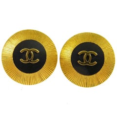 Chanel Gold Textured Black Charm Starburst Evening Stud Earrings in Box