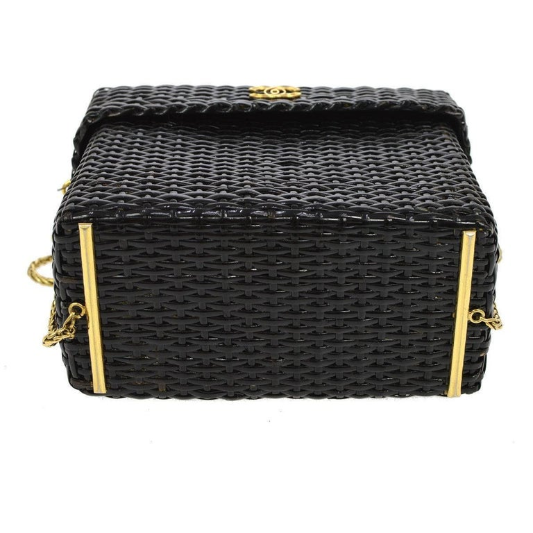 Chanel Rare Black Wicker Picnic Lunch Box Evening Shoulder Bag In Excellent Condition In Chicago, IL