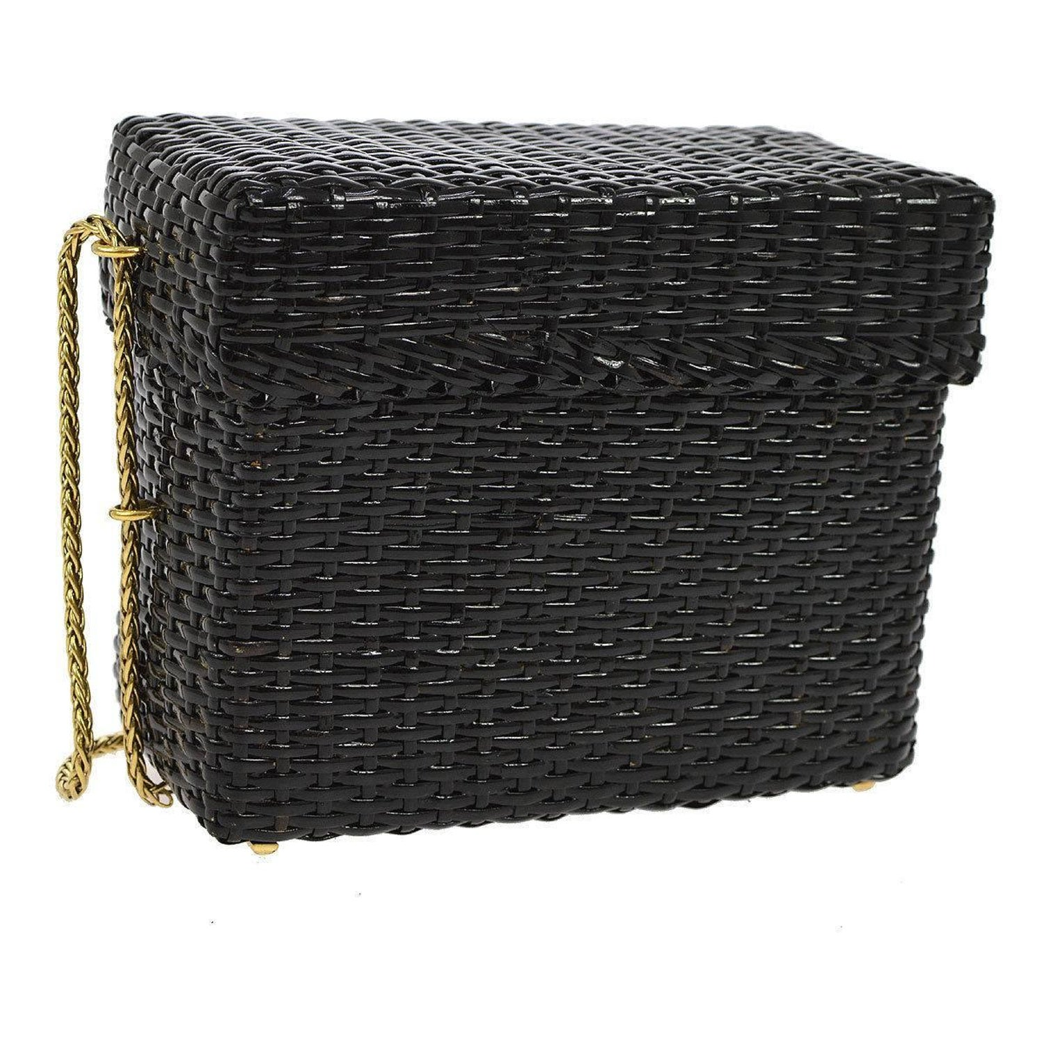 fed9df3fc77292 Chanel Rare Black Wicker Picnic Lunch Box Evening Shoulder Bag at 1stdibs
