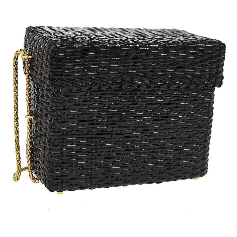 """Chanel Rare Black Wicker Picnic Lunch Box Evening Shoulder Bag  Wicker Metal Gold tone hardware Leather lining Date code present Made in Italy Shoulder strap drop 16"""" Measures 7"""" W x 6"""" H x 3.25"""" D"""