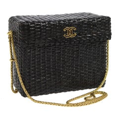 Chanel Rare Black Wicker Picnic Lunch Box Evening Shoulder Bag