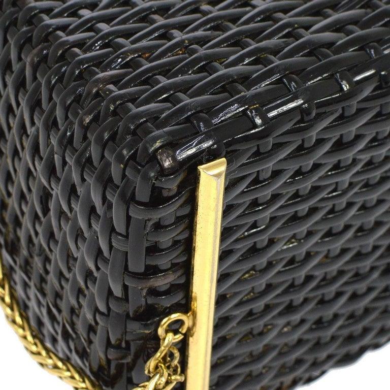 Women's Chanel Rare Black Wicker Picnic Lunch Box Evening Shoulder Bag
