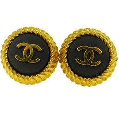 Chanel Gold Textured Ridge Black Logo Stud Evening Earrings