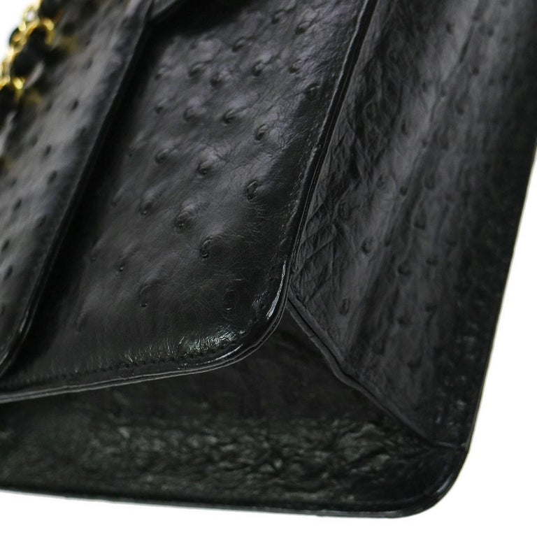 10bdb8e3d9b7 Chanel Black Exotic Skin Leather 2 in 1 Clutch Evening Shoulder Flap Bag In  Excellent Condition