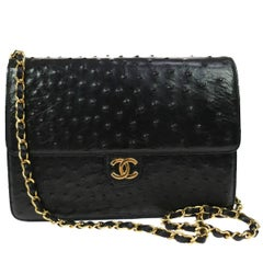 Chanel Black Exotic Skin Leather  2 in 1 Clutch Evening Shoulder Flap Bag