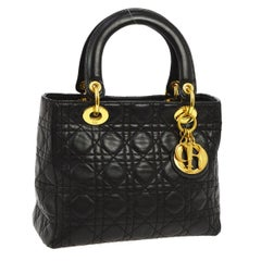 Dior Black Leather Quilted Gold Charm Top Handle Satchel Evening Bag