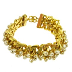 Chanel Gold Chain Link Beaded Pearl Statement Evening Cuff Bracelet