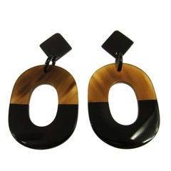 Hermes Cognac Brown Tortoise Large Doorknocker Evening Hoop Earrings in Box