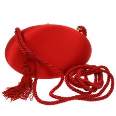 Prada Red Tassel Cord Kisslock Party 2 in 1 Clutch Evening Shoulder Bag in Box